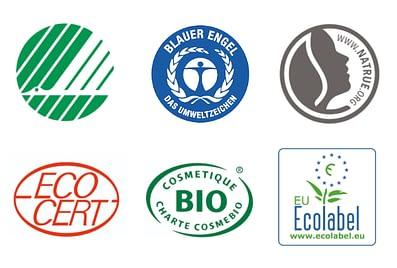 Eestis enamlevinud ökomärgised kosmeetikatoodetel: Põhjamaade luik, Sinine Ingel, Natrue, Ecocert, Cosmebio, EU ökomärgis