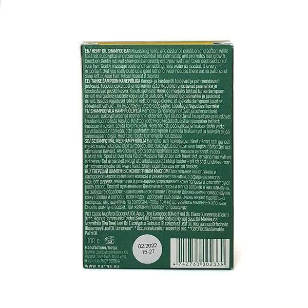 Nurme tahke šampoon kanepiõliga 100g tagakülg