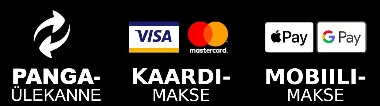 Turvalised maksed pangaülekande, Visa või MasterCard krediit- või deebetkaardiga või mobiilmaksega Apple Pay või Google Pay vahendusel