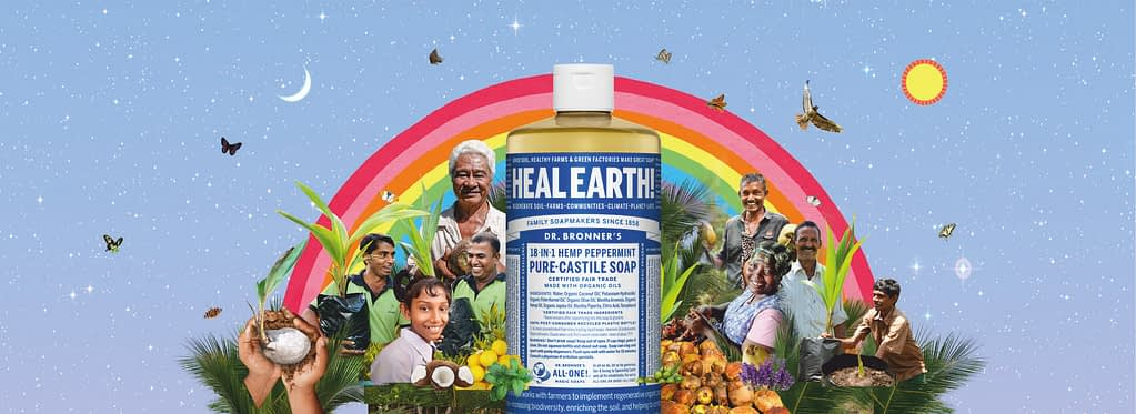Dr. Bronners heal earth banner