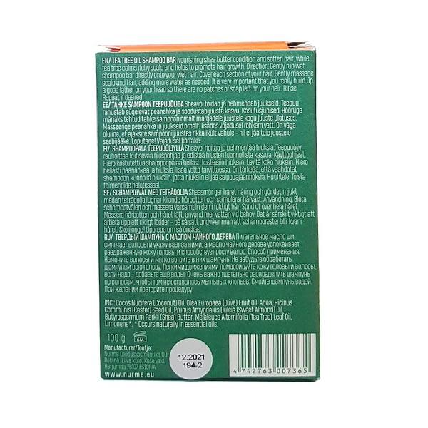 Nurme tahke šampoon teepuuõliga 100g pakendi tagakülg