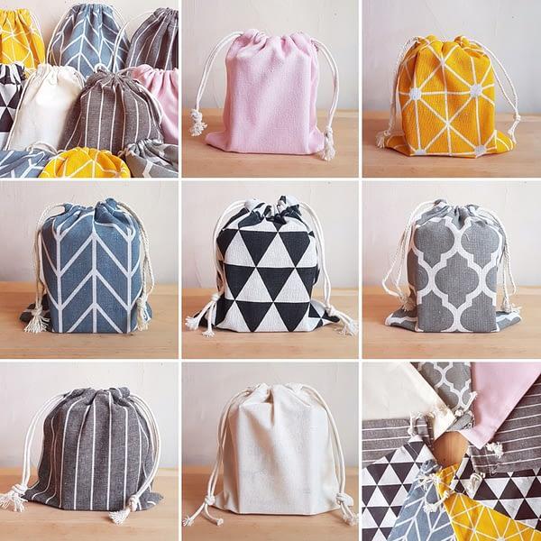 Väike riidest kott erinevad mustrid