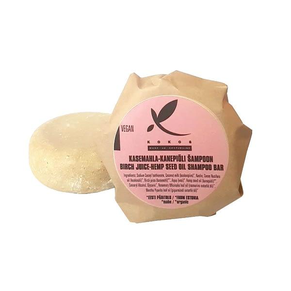 Kokos kasemahla-kanepiõli tahke šampoon
