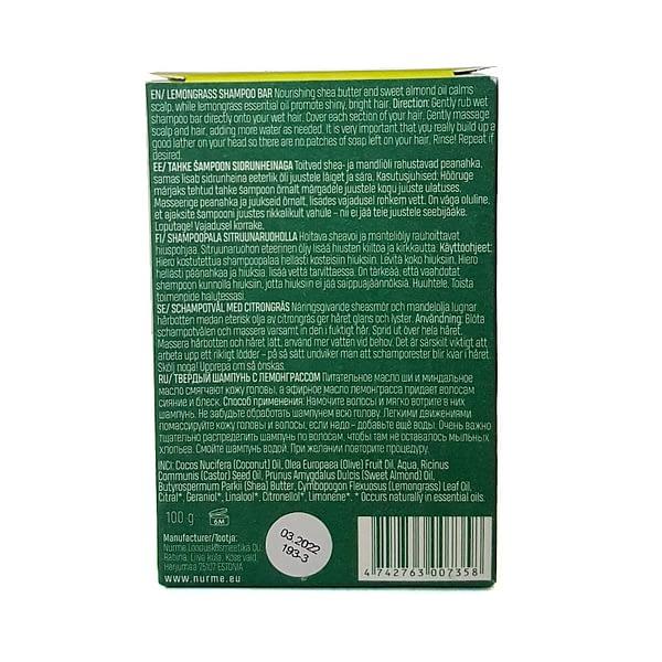 Nurme tahke šampoon sidrunheinaga 100g pakendi tagakülg